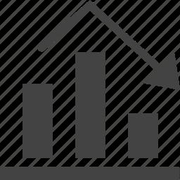 chart, diagram, down icon