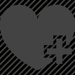 add, favorite, health, health care, heart, heathy, like, love icon