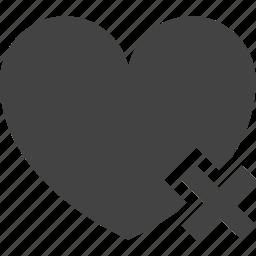 delete, dislike, favorite, heart, remove, unfriend icon