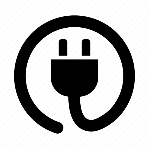 cable, circle, cord, electric, plug, power icon