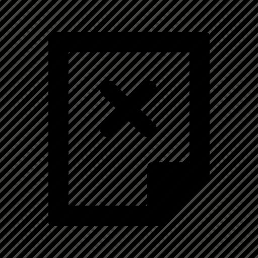 delete, document, paper, remove icon