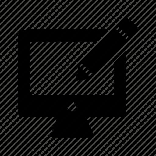 computer, desktop, monitor, pc, pen, screen icon