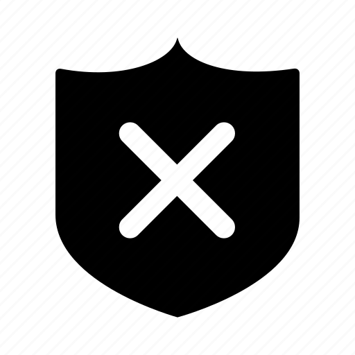 active, protection, removed, security, shield icon