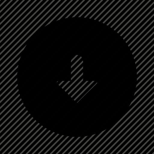 arrow, circle, down, filled icon