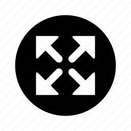 arrows, circle, enlarge, maximize icon