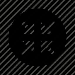 arrows, circle, minimize, shrink icon