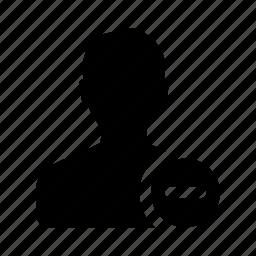 male, man, minus, person, profile, remove, user icon