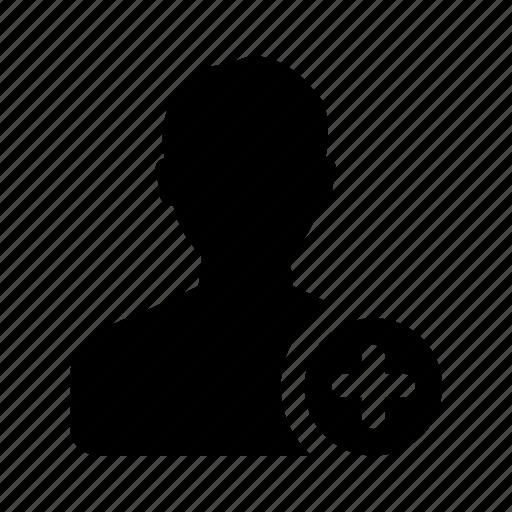 add, male, man, person, plus, user icon