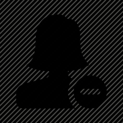 female, minus, person, profile, remove, user, woman icon