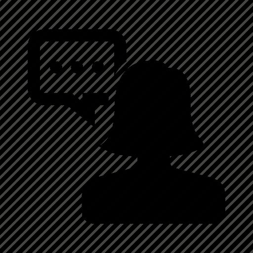 bubble, chat, female, message, person, speech, talk icon
