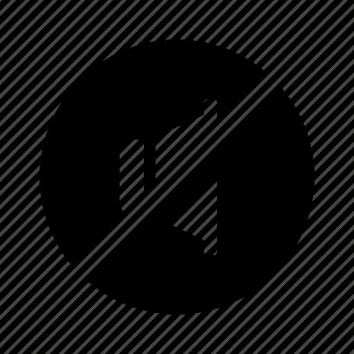 audio, circle, no, off, sound, speaker, volume icon
