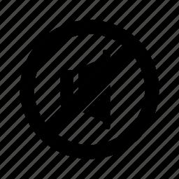 circle, no, off, sound, speaker icon