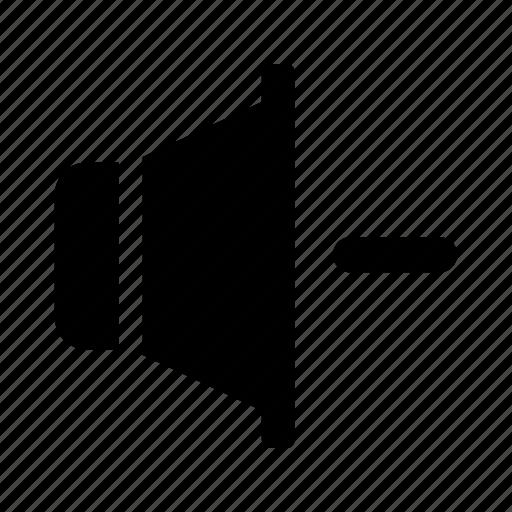 audio, minus, remove, sound, speaker icon