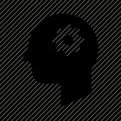 cog, gear, head, profile, settings icon