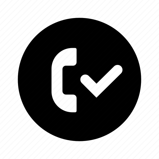 accepted, call, checkmark, circle, phone icon