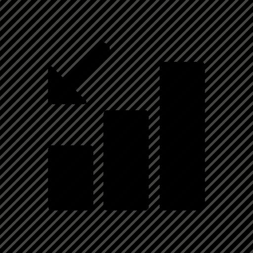 arrow, down, phone, signal icon