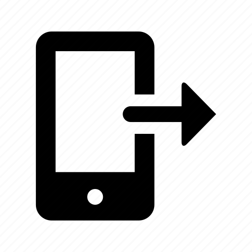arrow, direction, output, right, smartphone icon