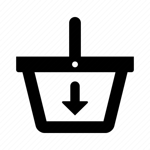 basket, down, ecommerce, shopping icon
