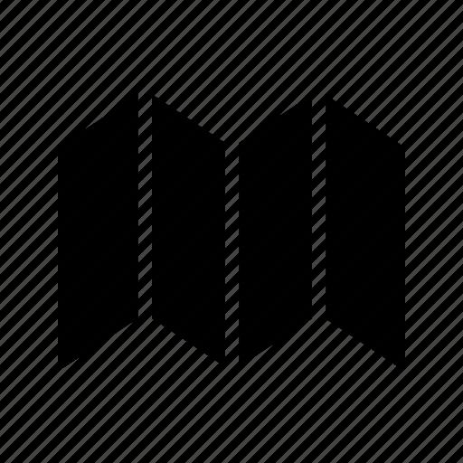 document, folded, map icon