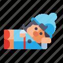 gnome, lying, down, female icon