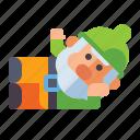 gnome, lying, male, dwarf icon