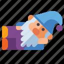 gnome, lying, down, beard icon