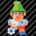 sporty, gnome, football, dwarf icon