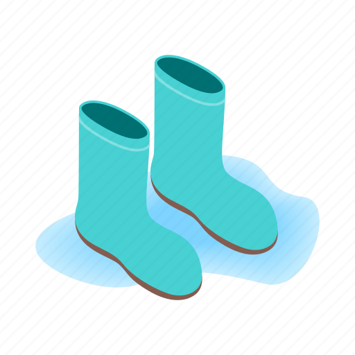 blue, boot, clothing, isometric, rubber, water, waterproof icon