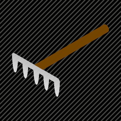 garden, handle, isometric, metal, rake, tool, wood icon