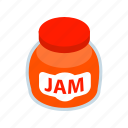 food, fruit, isometric, jam, jar, jelly, sweet icon