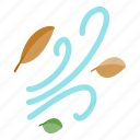 autumn, fall, isometric, leaf, orange, season, wind