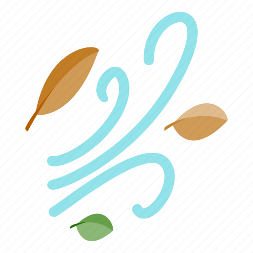 autumn, fall, isometric, leaf, orange, season, wind icon