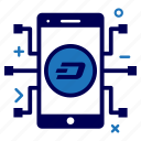 app, crypto, currency, dash, dashcoin, mobile, money icon