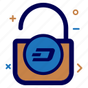 crypto, currency, dash, dashcoin, lock, money, secure icon