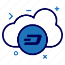 cloud, crypto, currency, dash, dashcoin, money, online icon