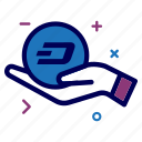 charity, crypto, currency, dash, dashcoin, hand, money icon