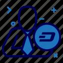 crypto, currency, dash, dashcoin, manager, money, user icon