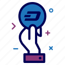 coin, crypto, currency, dash, dashcoin, hand, money icon