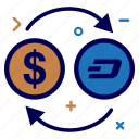 convert, crypto, currency, dash, dashcoin, dollar, money icon