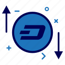 crypto, currency, dash, dashcoin, money, progress, rate icon