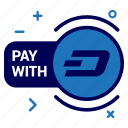 crypto, currency, dash, dashcoin, money, pay, with icon