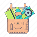 bag, bottle, camera, notebook, school bag, things in bag icon