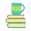 books, coffee, education, morning, mug, pile of books, study icon
