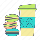 breakfast, coffee, coffee to go, cup, drink, macarons, paper cup icon