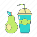 breakfast, food, fresh, healthy food, pear, smoothie, smoothie cup icon