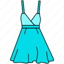 dress, female gown icon, flat gown icon, gown icon, line art style gown, teen gown icon