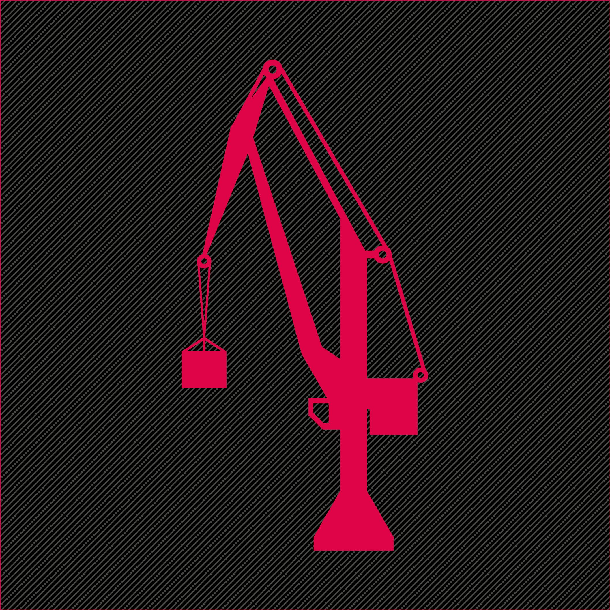 construction, crane, heavy equipment, ind icon
