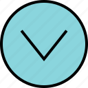 down, menu, nav, navigation, now icon