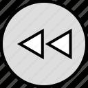 menu, nav, navigation, rewind icon