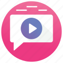 mms, video chating, video conversation, video message, video text icon